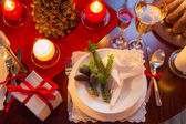 Modernly decorated Christmas table — Stock Photo