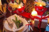 Table full of Christmas goodies — Stock Photo