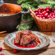 Stock Photo: Roast venison with cranberry sauce