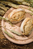 Two healthy buns baked from fresh grain — Stock Photo