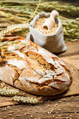 Healthy bread and a bag with grains — Stock Photo