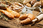 Rural baker pantry with all kinds of breads — Stock Photo