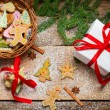 View of gingerbread cookies for Christmas in basket — Stockfoto