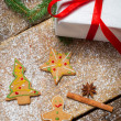 Gingerbread cookies and a little gift for Christmas — Stock Photo