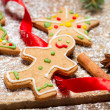 Gingerbread Man on a red ribbon — Stockfoto