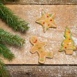 Gingerbread cookies and a small twig Christmas tree — Stock Photo