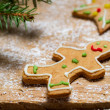 Stock Photo: Gingerbread Man under a sprig of spruce
