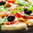 Closeup of fresh pizza with vegetables — Stock Photo