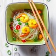 Thai soup with prawns and noodles — Stock Photo