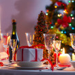 Christmas table setting before dinner — Stok fotoğraf