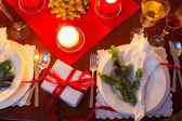 クリスマスの前夜テーブル席します。 — ストック写真