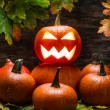 Jack o lantern on pumpkins pile — Stock fotografie