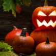 Halloween pumpkins on autumn leaves — Foto de Stock