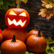 Halloween pumpkins with autumn leaves — Stock Photo