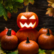 Pumpkins pile with autumn leaves — Foto Stock