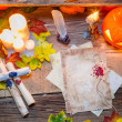 Enchanted place on the old witches table — Stockfoto