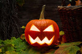 Closeup of halloween pumpkin on autumn leaves — Stock Photo