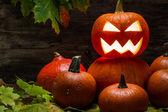 Halloween kürbisse auf herbstlaub — Stockfoto