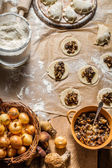 Fresh ingredients for dumplings with mushrooms — Stock fotografie