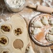 Preparation of the dough for homemade dumplings — Stock Photo