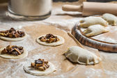 Closeup of homemade dumplings with mushrooms — ストック写真