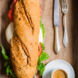 Stock Photo: Italibreakfast with espresso and sandwich