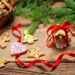Preparing gingerbread cookies as a gift — Stok fotoğraf
