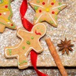 Gingerbread Man on a red ribbon — Stock Photo