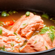 Healthy fish soup made of salmon — Stock Photo