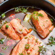 Closeup of salmon soup spiced with di — Stock Photo