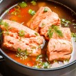 Stock Photo: Fish soup spiced with dill and chilli pepper