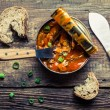 Can the fish in tomato sauce with chives — Zdjęcie stockowe