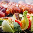 Closeup of hot skewers on the grate — Stockfoto