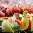 Closeup of hot skewers on the grate — 图库照片