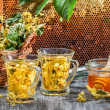 Summer lime tea with honey served in the garden — Stock Photo