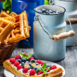Waffles with berry fruit and whipped cream — Stock Photo #35626665