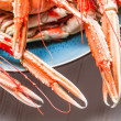 Freshly cooked langoustines as a seafood dish — Stock Photo
