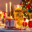 Christmas drinks and presents for long winter nights — Stock Photo