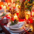 Specially decorated christmas table — Stock Photo