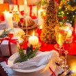 Special Christmas setting table — Stock Photo