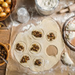 Homemade dumplings with onion and wild mushrooms — Stock Photo