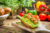 Homemade hot dog with fresh ingredients — Stock Photo