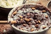 Closeup of homemade chocolate with almonds — Stock Photo