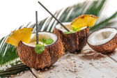 Pinacolada in the coconut with pineapple — Stock Photo