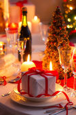 Closeup of Christmas gift on the table — Stock Photo
