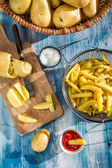 Homemade French fries made from potatoes — Stock Photo