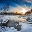 First snow at sunrise in winter — Stock Photo