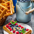 Waffles with berry fruit and whipped cream — Stock Photo #37010985