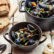 Closeup of ingredients for a dish cooked with mussels — Stock Photo #37011141