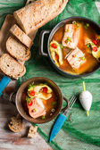 Fish soup with dill and chilli pepper — Stock Photo
